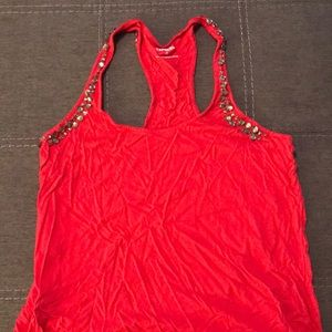 Red Bedazzled Racerback Tank Top